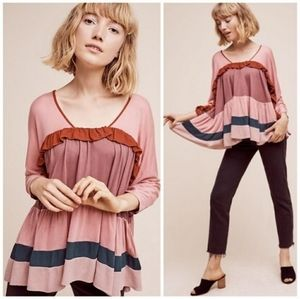 Anthropologie Meadow Rue Tiered Ruffle Top